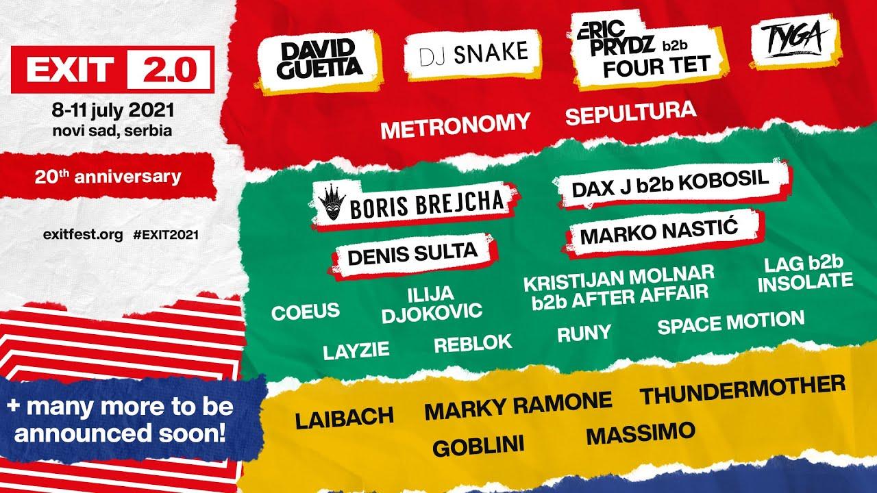Exit festival 2020 . Line up